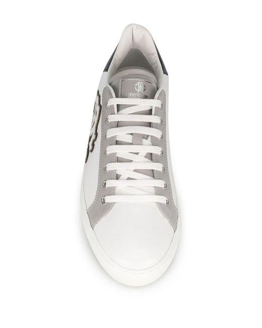 メンズ Roberto Cavalli ロゴ ローカットスニーカー White