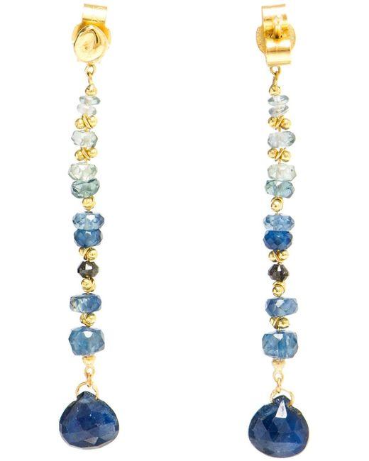 Natasha Collis | Blue Sapphire And 18kt Gold Drop Earrings | Lyst