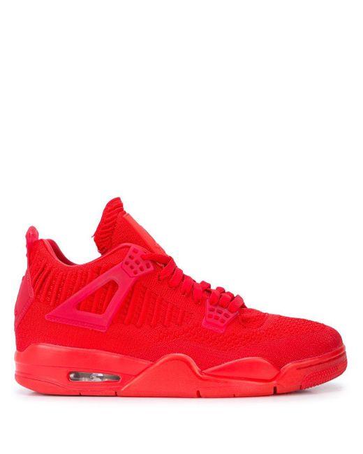 メンズ Nike Air 4 Retro Hi Flyknit スニーカー Red