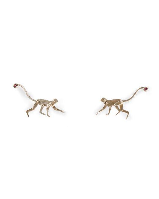 Marc Alary | White Ruby Detail Monkey Earrings | Lyst