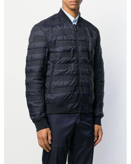 メンズ Emporio Armani リバーシブル ボンバージャケット Blue