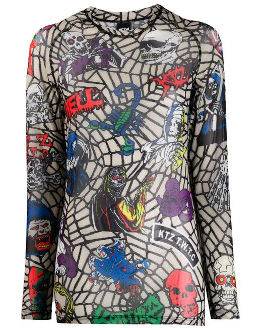 KTZ Top Death Metal Monster Net de mujer de color negro 0IDYq