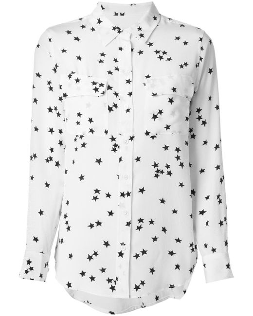 Equipment | White Slim Signature Printed Washed-Silk Shirt | Lyst