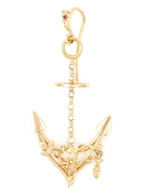 Natasha Zinko | Metallic Diamond Detail Anchor Earring | Lyst