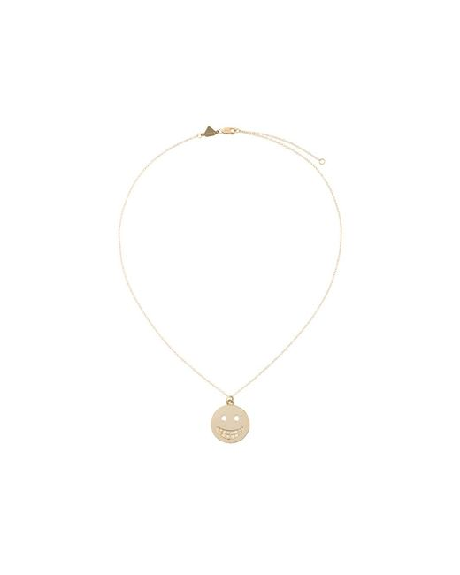 Alison Lou | Metallic Diamond Smiley Face Pendant Necklace | Lyst