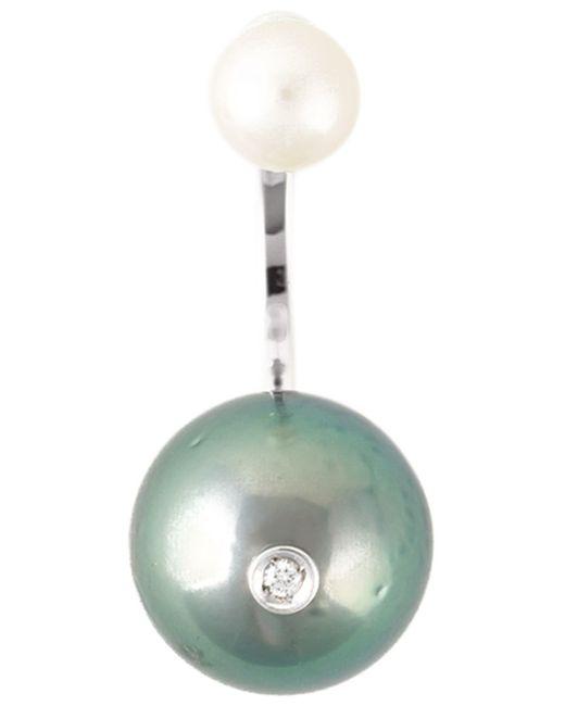 Delfina Delettrez | Gray 'pearl Piercing' Diamond Earring | Lyst