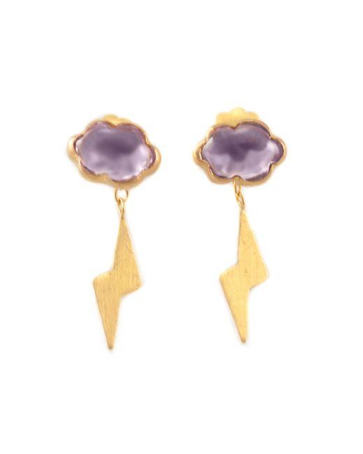 Marie-hélène De Taillac | Metallic Amethyst Lightning Bolt Earrings | Lyst