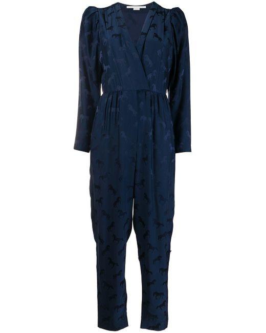 Stella McCartney ジャカード Vネックジャンプスーツ Blue