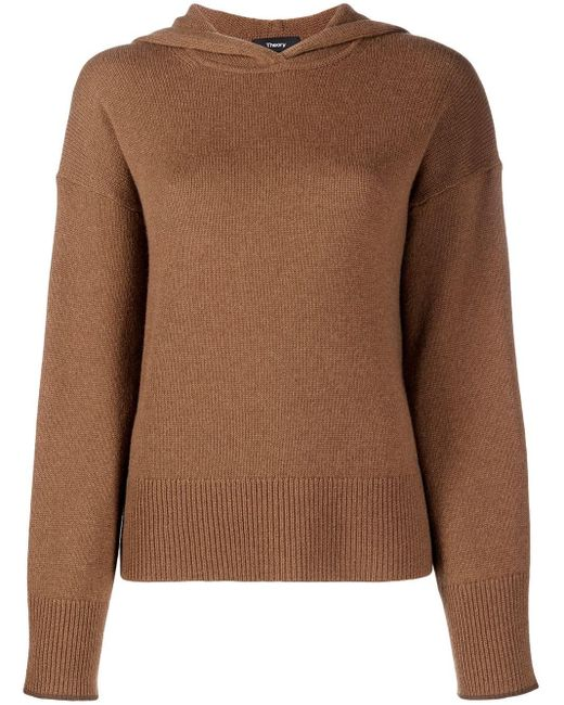 Theory Brown Contrast-stitching Knitted Hoodie