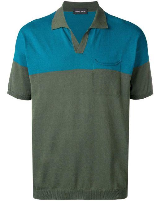 メンズ Roberto Collina カラーブロック ポロシャツ Green