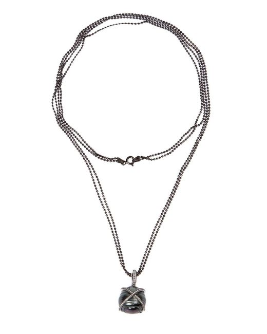 Samira 13 | Black Pearl And Diamond Pendant Necklace | Lyst