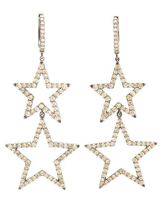 Rosa De La Cruz | Metallic Burnished Gold And Brown Diamond Star Earrings | Lyst