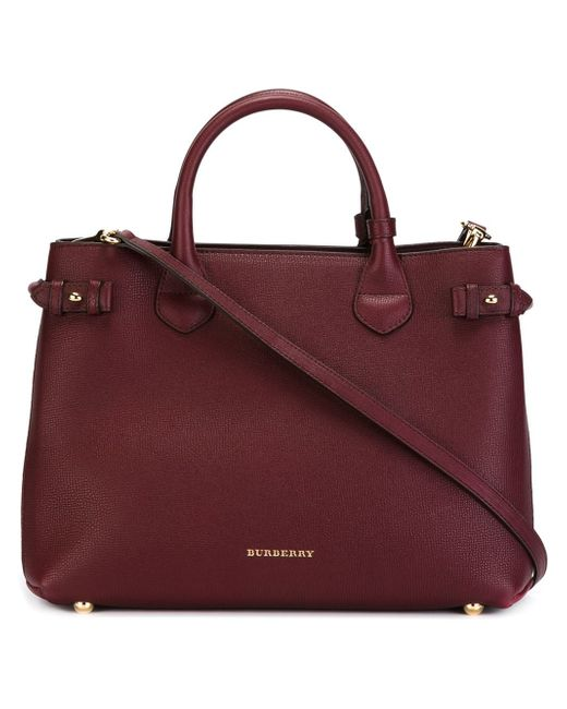 Burberry | Red Medium Banner Leather Tote | Lyst