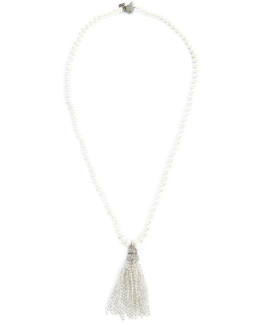 Oscar de la Renta | White Bead Fringe Tassel Necklace | Lyst