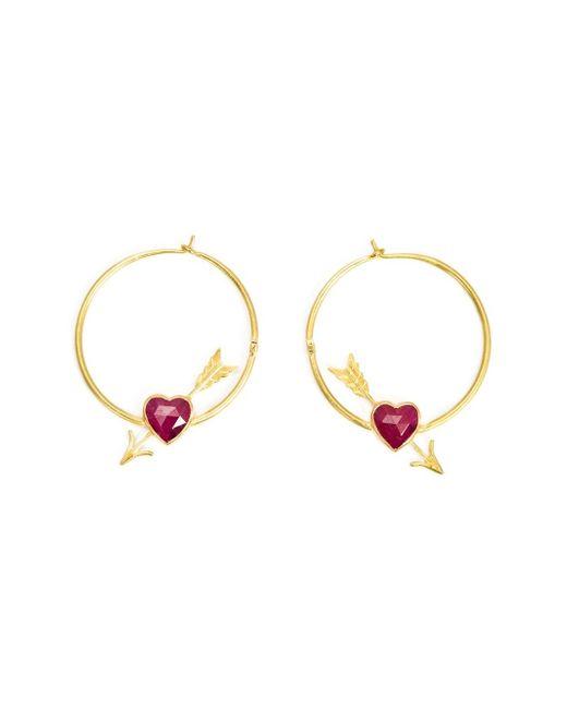 Marie-hélène De Taillac | Metallic Cupid's Arrow Ruby Heart Hoop Earrings | Lyst