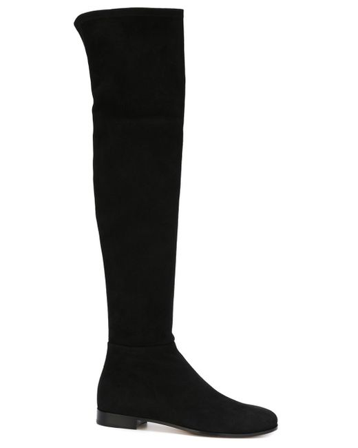 Jimmy Choo | Black Myren Flat Suede Over-the-knee Boots | Lyst