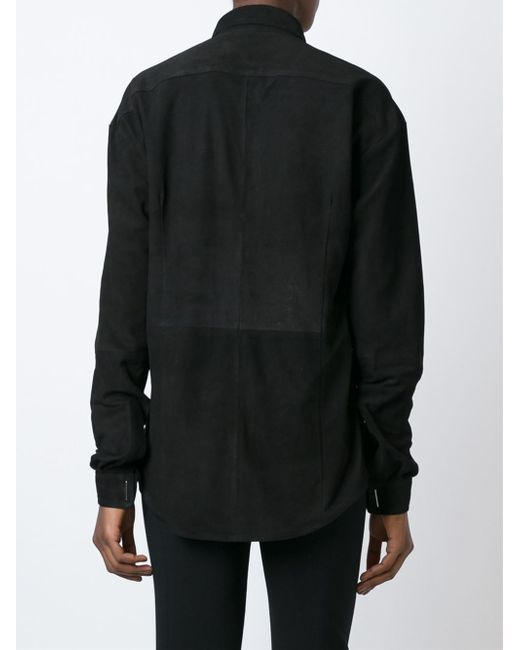 Anthony vaccarello star eyelet shirt in black lyst for Mens eyelet collar dress shirts