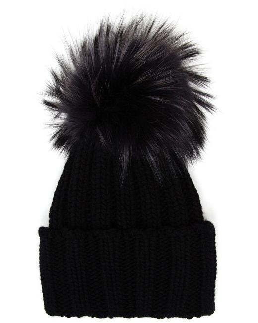 Inverni | Black Cashmere And Fur Beanie | Lyst