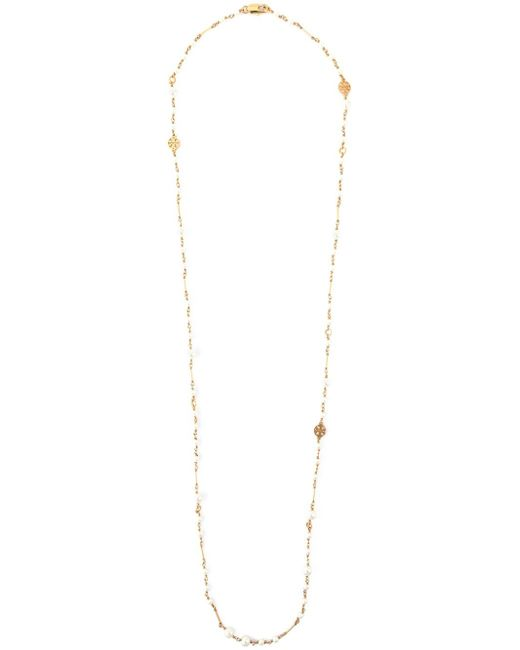 Tory Burch | Metallic Pearl And Logo Necklace | Lyst