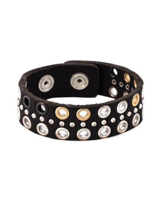 DIESEL | Black Eyelet Embellished Bracelet | Lyst