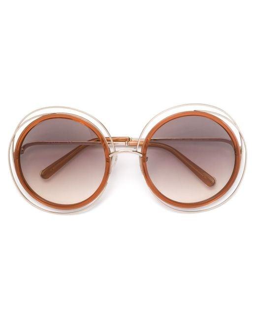 Chloé | Orange Chloé 'carlina' Sunglasses | Lyst