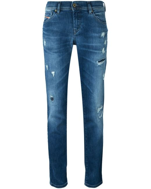 DIESEL | Blue Tapered Distressed Jeans | Lyst