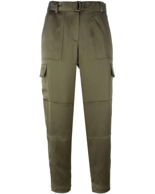 Theory | Green Cropped Trousers | Lyst