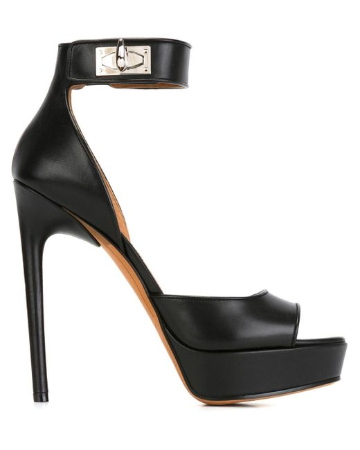 Givenchy | Black Shark Lock Leather Sandals | Lyst