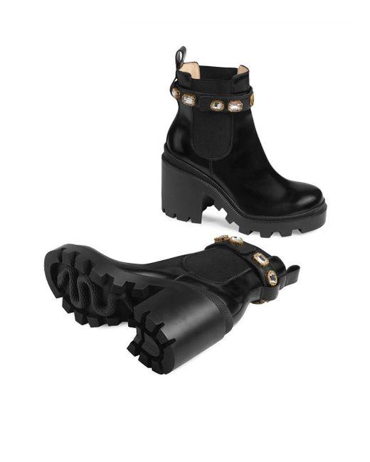 Gucci Black Stiefelette aus Leder mit Gurt
