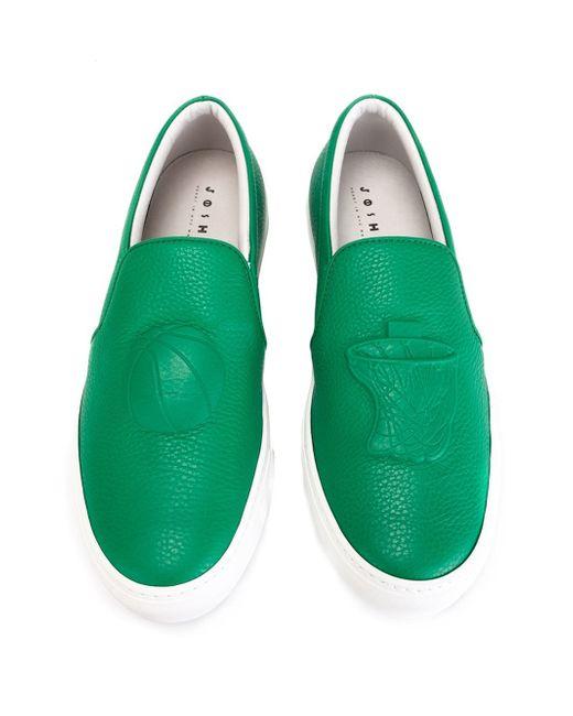 joshua sanders basketball motif slip on sneakers in green