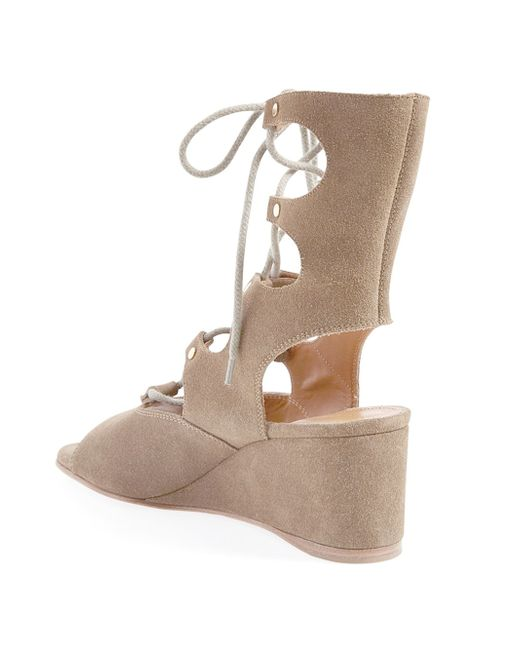 Chlo 233 Foster Wedge Sandals In Beige Brown Save 71
