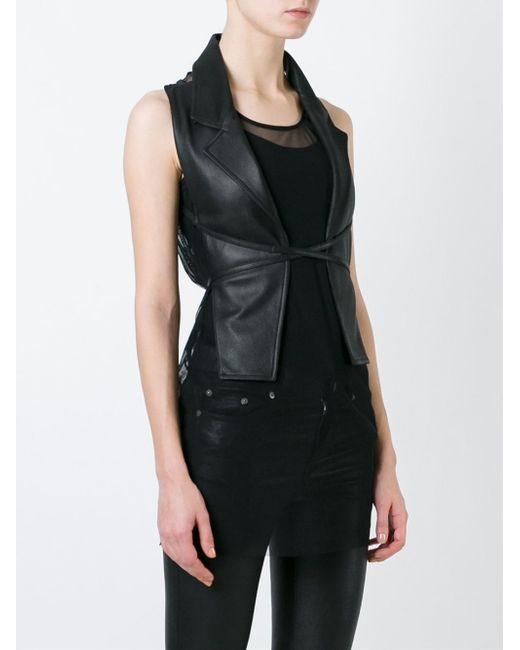 Ann Demeulemeester Blanche Open Back Waistcoat In Black