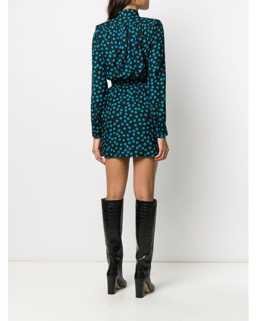 Платье В Горох С V-образным Вырезом Saint Laurent, цвет: Black