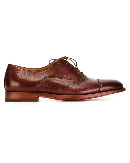 santoni stacked heel oxford shoes in gold for