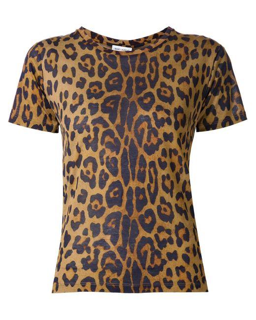 Saint Laurent | Brown Leopard Print T-shirt | Lyst