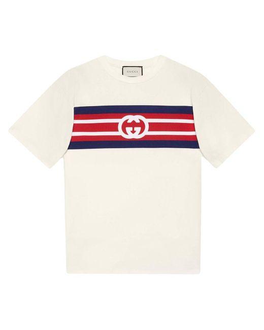 T-shirt à logo GG rayé Gucci pour homme en coloris White