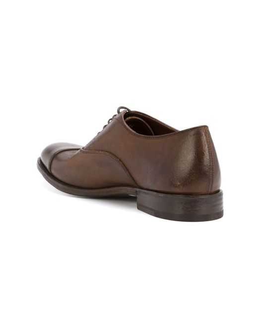 henderson stacked heel oxford shoes in brown for lyst