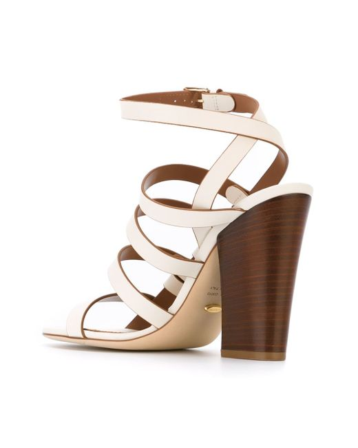 sergio chunky heel sandals in white save 30 lyst