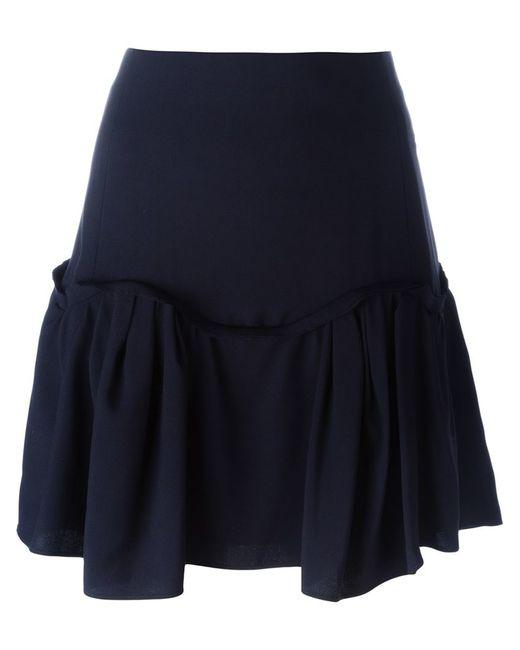 chlo 233 pleated hem a line skirt in black blue lyst