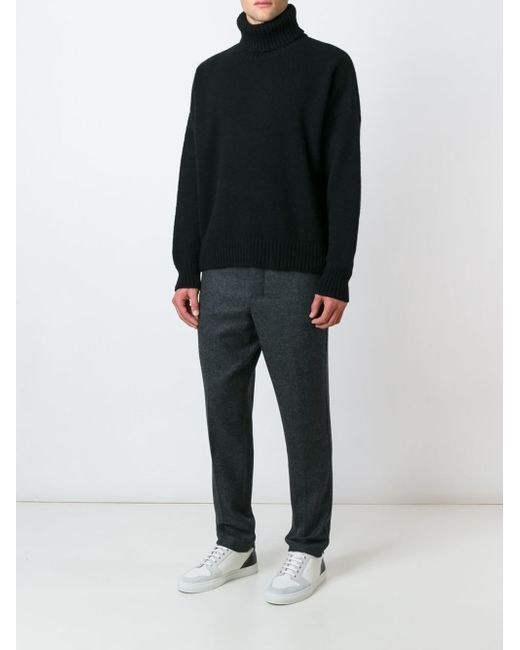 Ami Oversized Turtleneck Sweater In Black For Men Lyst