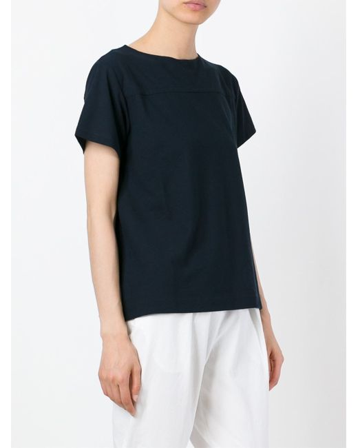 Zanone Boat Neck T Shirt In Black Blue Save 21 Lyst