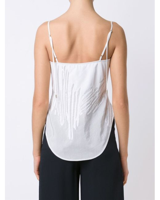 Maiyet 39 arc tank 39 camisole in white lyst for Hanro touch feeling t shirt bra
