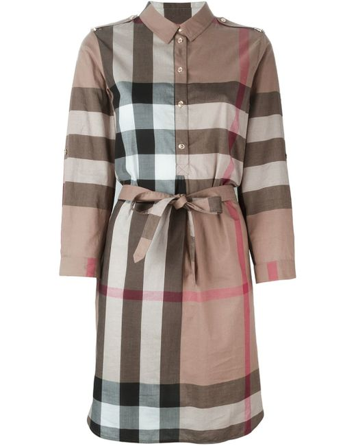 Burberry 39 House Check 39 Shirt Dress In Brown Save 31 Lyst