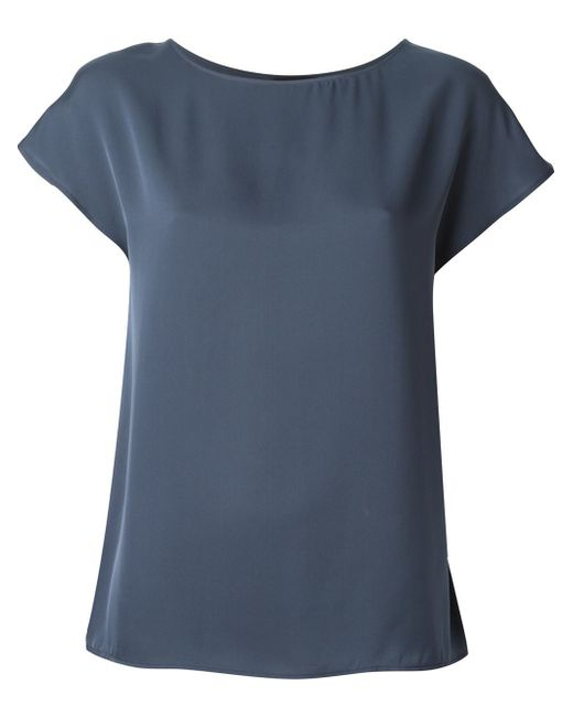Theory Boat Neck Silk T Shirt In Blue Lyst