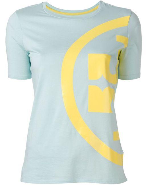 Tory burch side logo print t shirt in blue lyst for Tory burch t shirt