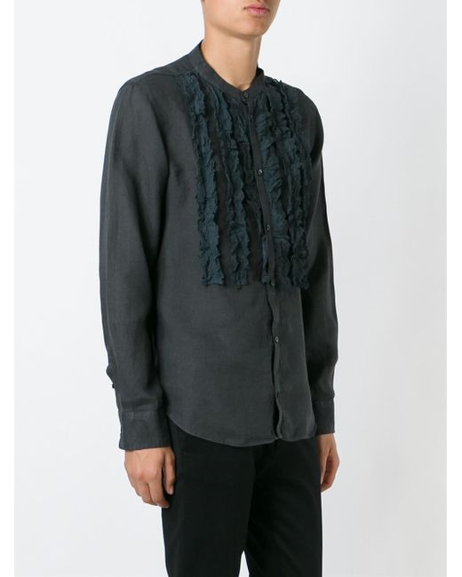 Etro ruffle detail shirt in black for men lyst for Frilly shirts for men