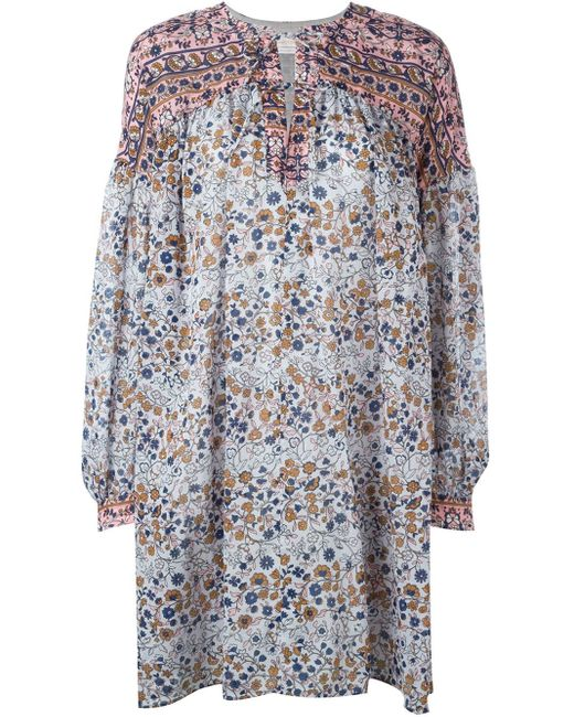 See By Chloé | Multicolor See By Chloé Off-the-shoulder Printed Cotton-voile Maxi Dress | Lyst