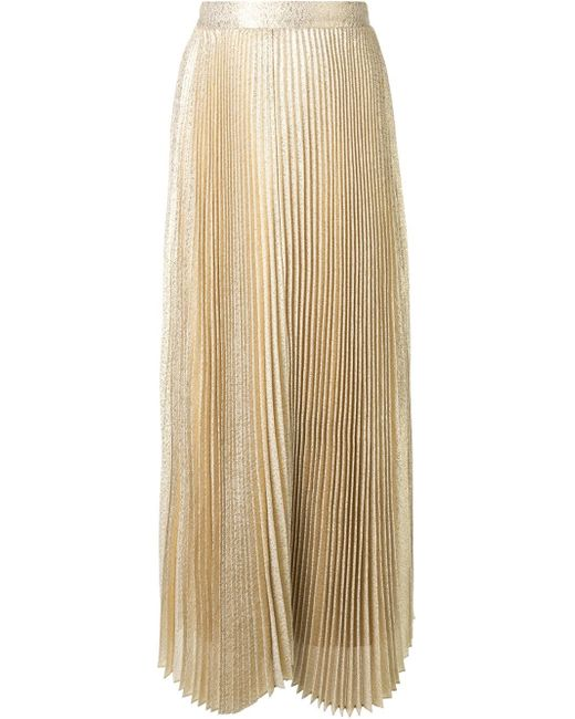 pleated maxi skirt in gold metallic