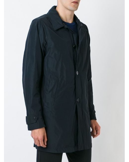 Stone island Button Down Trench Coat in Black for Men - Lyst