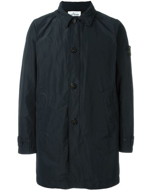 stone island button down trench coat in black for men lyst. Black Bedroom Furniture Sets. Home Design Ideas